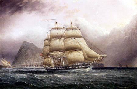 James Edward Buttersworth - American Frigate off Gibraltar