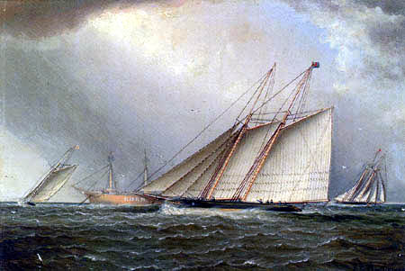 James Edward Buttersworth - Yachts rounding the Nore light ship