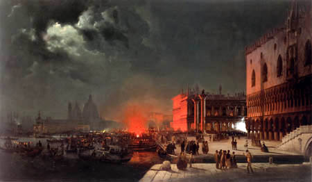 Ippolito Caffi - A festival on the pier of San Marco