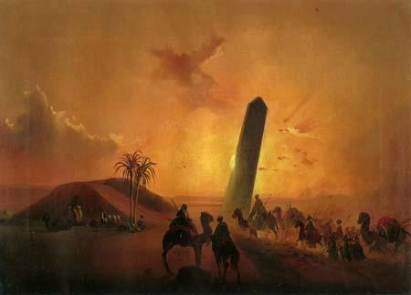 Ippolito Caffi - Un obélisque dans le désert égyptien