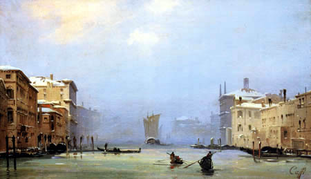 Ippolito Caffi - Snow and fog on the Grand Canal