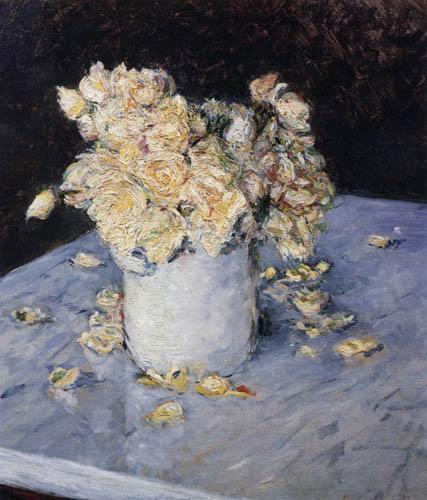 Gustave Caillebotte - Gelbe Rosen in einer Vase