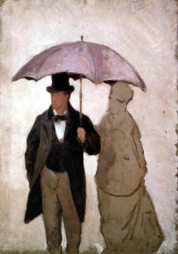 Gustave Caillebotte - Man and woman under an umbrella, study