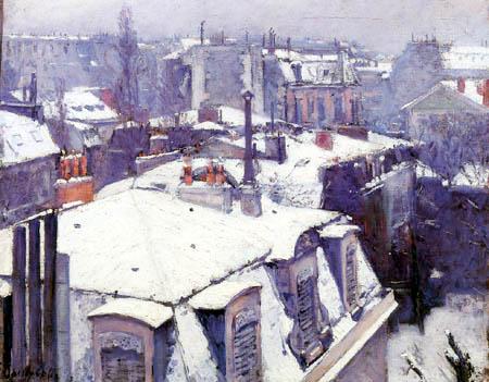 Gustave Caillebotte - Vista de tejados bajo la nieve