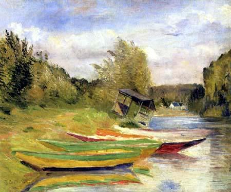 Gustave Caillebotte - Boote und Schuppen am Ufer der Seine
