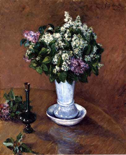 Gustave Caillebotte - Naturaleza muerta con jarrón de lilas