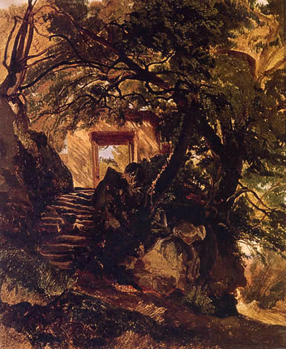 Alexander Calame - A stone staircase and doorway in a landscape