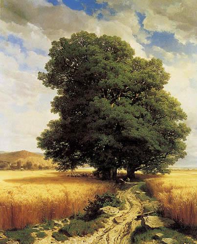Alexander Calame - Landscape with Oaks