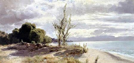 Alexander Calame - The lake of Geneva near Evian