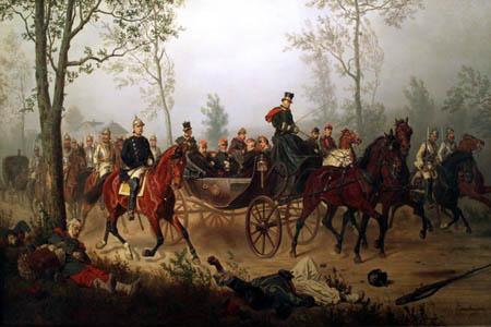 Wilhelm Camphausen - Otto von Bismarck escorts Emperor Napoleon III