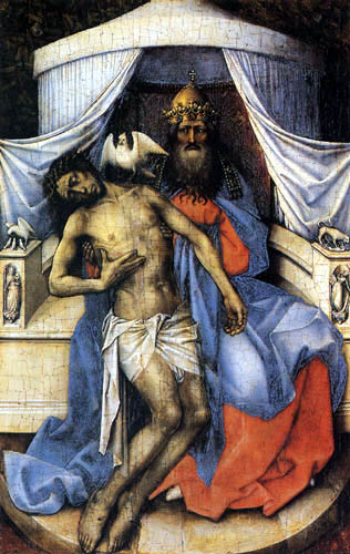 Robert Campin, Master of Flémalle - The Trinity, left-hand panel