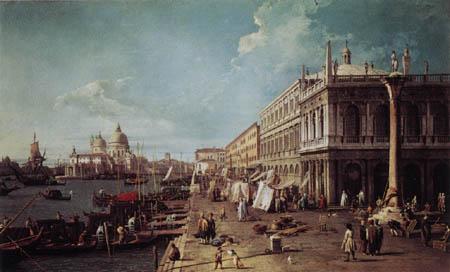 Giovanni Antonio Canal Canaletto - El muelle y la biblioteca
