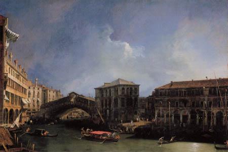 Giovanni Antonio Canal Canaletto - Rialtobrücke von Norden