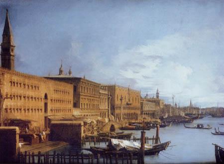 Giovanni Antonio Canal, Canaletto - Die Hafeneinfahrt und Riva degli Schiavoni