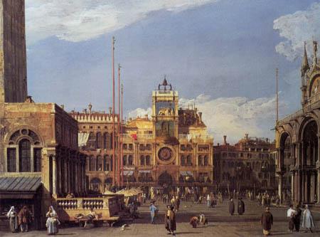 Giovanni Antonio Canal Canaletto - Le clocher sur le Piazza San Marco