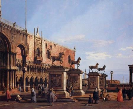 Giovanni Antonio Canal Canaletto - Caprice, les chevaux sur la petite place