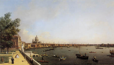 Giovanni Antonio Canal, called Canaletto - London,Die Themse vom Somerset House