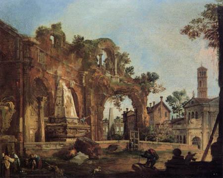Giovanni Antonio Canal Canaletto - Studie: Triumphbogen Ruine