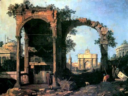 Giovanni Antonio Canal, called Canaletto - Capriccio with Ruins