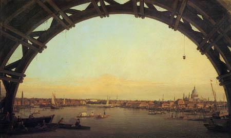 Giovanni Antonio Canal, called Canaletto - London durch einen Bogen der Westminster Bridge