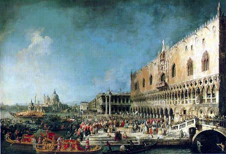Giovanni Antonio Canal Canaletto - Llegada en el palacio ducal