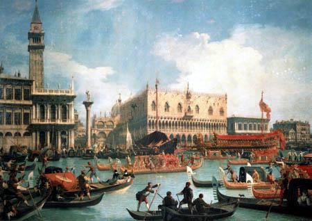 Giovanni Antonio Canal Canaletto - Le Bucentaure à le Palais des Doges