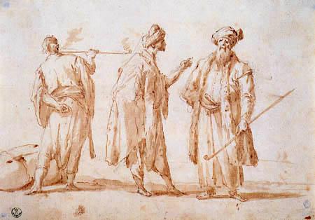 Giovanni Antonio Canal Canaletto - Trois hommes dans des costumes orientaux