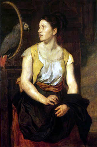 Hans Canon - Girl with Parrot