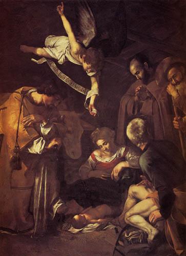 Michelangelo Merisi da Caravaggio - Nativity with Saints Francis and Lawrence