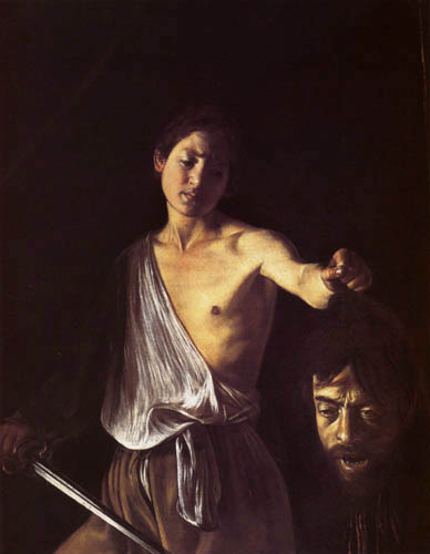 Michelangelo Merisi da Caravaggio - David hoists the severed head of Goliath
