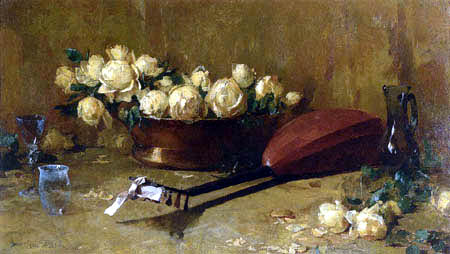 Emil Carlsen - Still Life with Roses and Mandolin