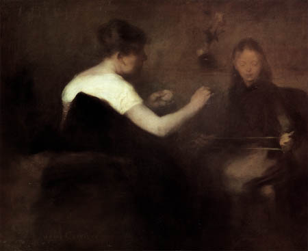 Eugène Carrière - Beim Wolleaufnehmen
