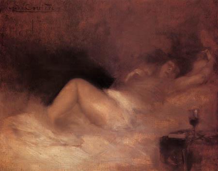 Eugène Carrière - A Reclining Woman