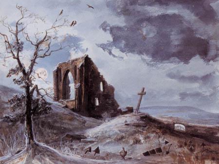 Carl Gustav Carus - Mondnacht über der Ruine Eldena