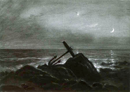 Carl Gustav Carus - An anchor lying on the beach in the moonlight