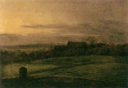Carl Gustav Carus - Blick über abendliche Felder auf ein Gehöft