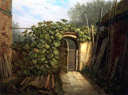 Carl Gustav Carus - Un jardin ouvert avec des vignes de citrouille