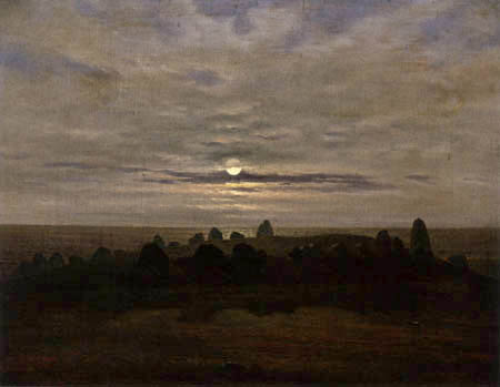 Carl Gustav Carus - Giant's Grave in the Moonlight near Nobbin