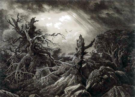Carl Gustav Carus - Kahle Eichen zwischen Gesteinsblöcken