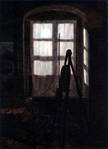 Carl Gustav Carus - Eine Malerstube im Mondschein