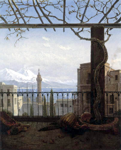 Carl Gustav Carus - The port of Naples with Mount Vesuvius and Mount Somma