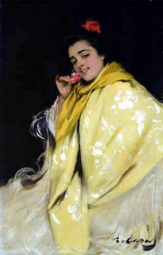 Ramon Casas i Carbó - Woman with Yellow Scarf