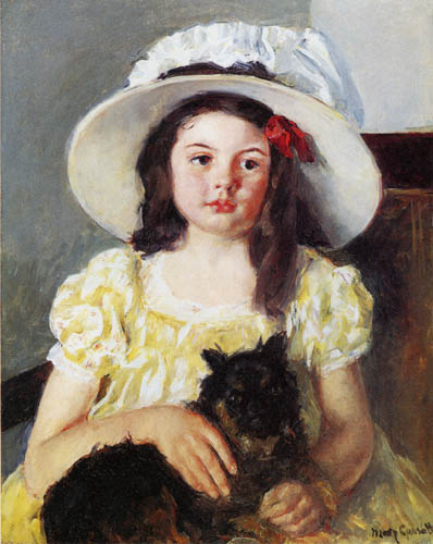 Mary Cassatt - Francoise with a little, black dog