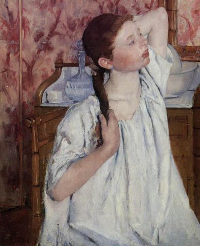 Mary Cassatt - Mädchen, die Haare richtend
