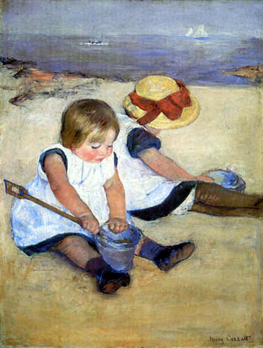 Mary Cassatt - Playing children on the beach