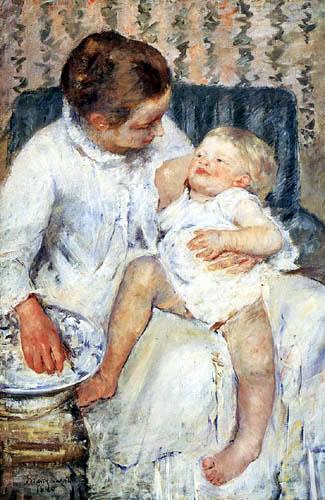 Mary Cassatt - Mutter, ihr Kind waschend