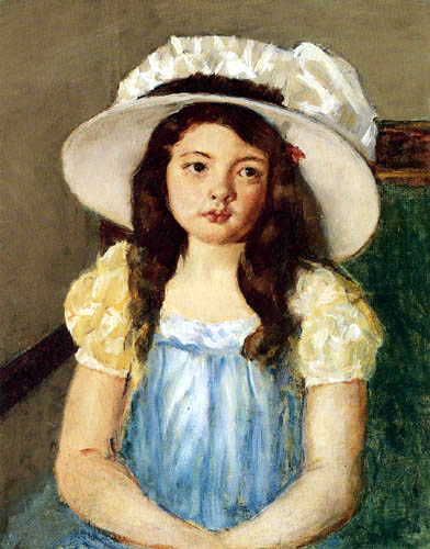 Mary Cassatt - Francoise with a big White Hat