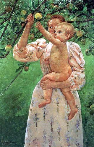 Mary Cassatt - Kind greift nach einem Apfel