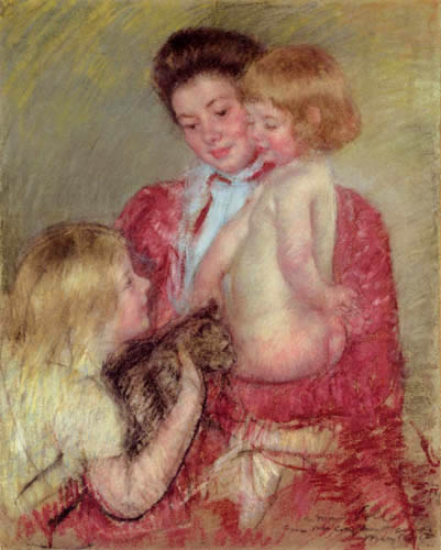 Mary Cassatt - Reine Lefebvre with Blond Baby and Sara Holding a Cat