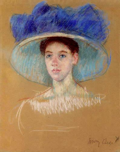 Mary Cassatt - Porträt einer jungen Frau mit großem Hut